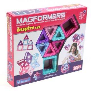Magformers pasztell színben, 30 db-os készlet (különleges, mágneses építőjáték lányok számára, 3-12 év)