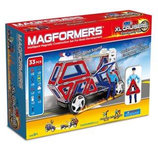 Magformers XL Cruiser Emergency, Szirénázó autók, 26 db-os készlet (különleges, mágneses építőjáték: szirénázó autók, 3-12 év)