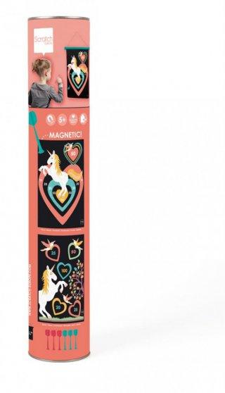 Mágneses darts Csillogó unikornisok, ügyességi játék 40x31 cm (Scratch, 5-10 év)
