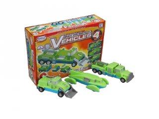 Mágneses építő szett 4, járművek (Popular, kreatív építőjáték, 3-7 év)