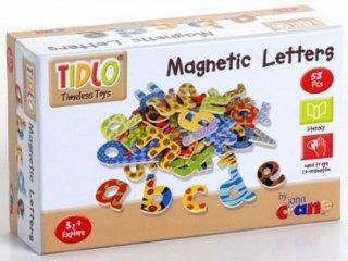 Mágneses fa betűkészlet: kisbetűk (Tidlo, 0073, 58 db-os mágneses fajáték, 3-7 év)