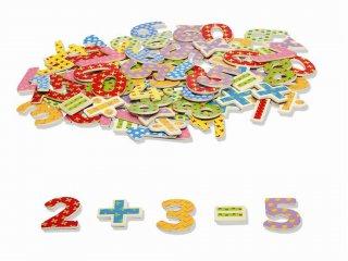 Mágneses fa számok és műveleti jelek (Tidlo, 0074, 100 db-os, 6 cm-es fajáték, 2-8 év)