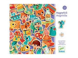 Mágneses fajáték, Magniville (Djeco, 3123, 36 db-os képalkotó játék, 2-5 év)