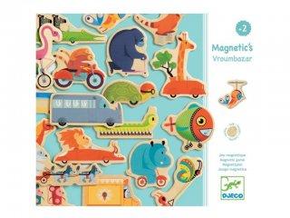Mágneses fajáték, Vroumbazar (Djeco, 3125, 24 db-os járműves-állatos képalkotó játék, 2-5 év)