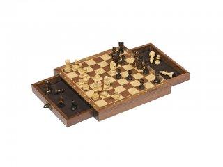 Mágneses, fiókos fa sakk készlet (GK, 25x25 cm stratégiai társasjáték, 6-99 év)