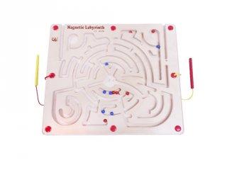 Mágneses golyóvezető labirintus, fa készségfejlesztő játék (3-7 év)