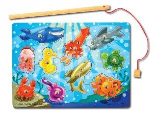 Mágneses horgász játék, vízi állatok (MD, 13778, ügyességi formaberakó, 2-5 év)