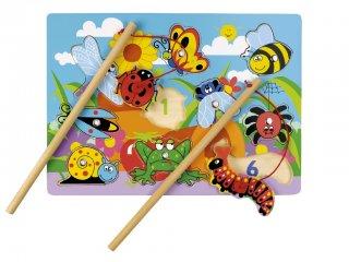 Mágneses horgászjáték és formaberakó, Bogaras - számos (Tidlo, ügyességi játék, 1-4 év)