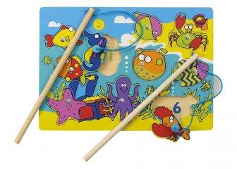 Mágneses horgászjáték és formaberakó, Tengeri állatos - számos (Tidlo, ügyességi játék, 1-4 év)