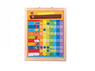 Mágneses jutalom tábla fából színes elemekkel, motiváló eszköz gyerekeknek (3-7 év)