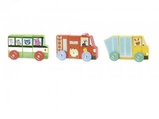 Mágneses kamionok (Vilac, 1513, fa autós játék, 2-5 év)