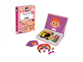 Mágneses könyv Janod öltöztető kreatív játék, lányos vicces arcok (2717, 3-8 év)