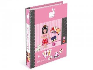 Mágneses könyv, lány (Janod, öltöztető játék, 3-8 év)