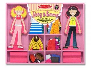 Mágneses öltöztetős játék, Abby és Emma (Melissa&Doug, 56 db-os kreatív fajáték, 2-5 év)