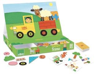 Mágneses utazó játék, Farm (Vilac, 8029, 80 db-os kirakó, 3-5 év)