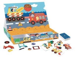 Mágneses utazó játék, Közlekedés (Vilac, 8030, 80 db-os kirakó, 3-5 év)
