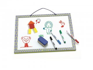 Mágnestábla és rajztábla egyben (Djeco 3140, kreatív játék, 18 hó-6 év)