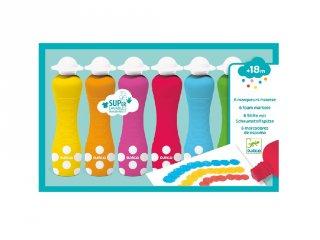 Marok filc 6 színben, pontozó festés, Djeco kreatív készlet - 9002 (18 hó-4 év)