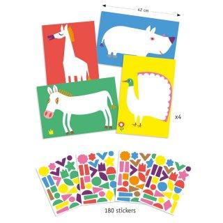 Matricás képkészítő Nagy állatok, Djeco kreatív szett - 9046 (3-6 év)
