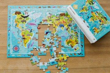 Megfigyelő puzzle A világ állatai, 80 db-os kirakó (DO, 5-7 év)