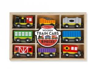 Melissa&Doug vonatszerelvények fából, 8 db-os jármű készlet (5186)