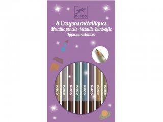 Metálfényű színes ceruza készlet (Djeco, 9753, 8 db-os kreatív készlet, 5-12 év)