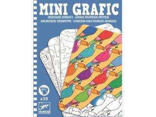 Mini grafika, Állatos színező (Djeco, 5382, kreatív színező, 6-12 év)