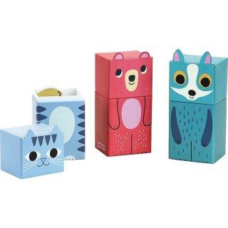 Mini kirakó 3 db-os cica alakú dobozban, fa bébijáték (7780c, 2-3 év)