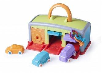 Miniland garázs 3 autóval és kulcsokkal, babajáték (45140)