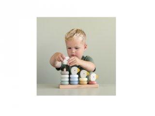 Montessori építőjáték Gúnáros, Little Dutch fa készségfejlesztő bébijáték (7074, 1-3 év)