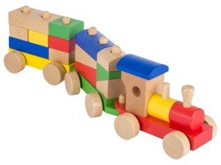 Montessori favonat, 2 vagonnal (Goki, 304, 13 db-os fa építőjáték, 1-4 év)