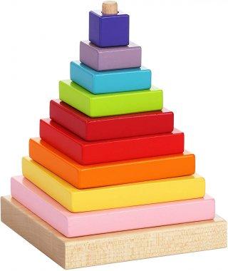 Montessori piramis, 9 db-os bébi építőjáték fából (1-3 év)
