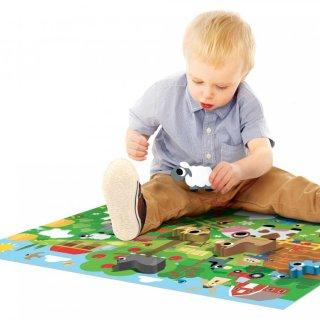 Montessori puzzle Vidám tanyasi élet, bébi kirakó fa állatfigurákkal (HED, 2-4 év)