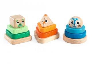 Montessori tornyok (Djeco, 6307, 3 db fajáték, 1-3 év)