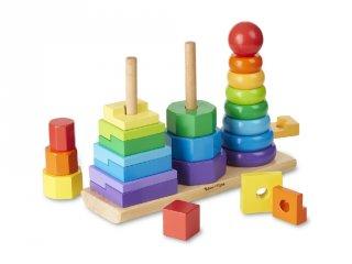 Montessori tornyok (Melissa&Doug, 3-féle logikai fa építőjáték, 2-5 év)