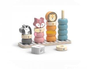 Montessori torony Állatfejek, fa készségfejlesztő bébijáték (6055, 1-3 év)