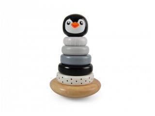Montessori torony Pingvin, fa készségfejlesztő bébijáték (1-3 év)