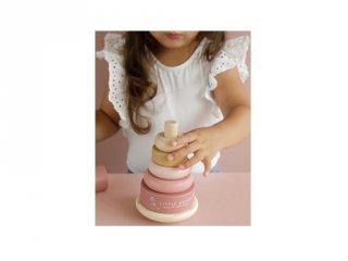 Montssori torony Little Dutch fa készségfejlesztő bébijáték, pink (7012, 1-3 év)