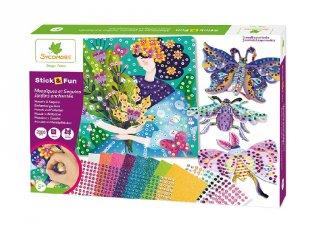 Mozaik és flitterkép készítés, Varázslatos kertek, kreatív szett (Sycomore, Cre7020, 5-10 év)