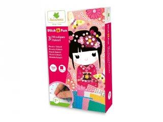 Mozaikkép készítés Kokeshi baba, kreatív szett (Sycomore, 5-8 év)