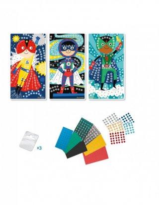 Mozaikkép készítés Szuperhősök, kreatív szett (Sycomore, 5-8 év)