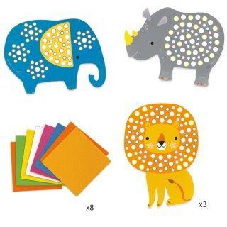 Mozaikkép készítő Dzsungel állatok, Djeco kreatív szett - 9097 (3-6 év)