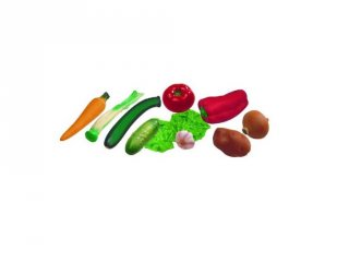 Műanyag zöldségek (Miniland, 30582-3, 11 db-os konyhai szerepjáték, 2-7 év)