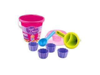 Muffinos homokozókészlet vödörrel (strandjáték, kerti játék több színben, 1-6 év)