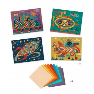 Művészeti műhely, Menő járművek mozaik készlet, Djeco kreatív szett - 9421 (6-10 év)