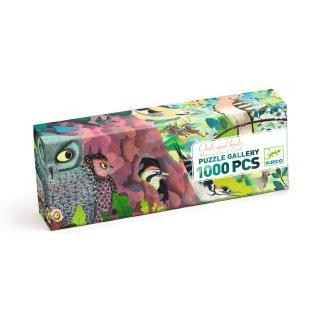Művészi puzzle, Baglyok és madarak, Djeco 1000 db-os kirakó - 7644 (9-99 év)
