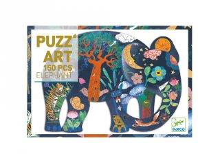 Művészi puzzle, Elefánt (Djeco, 7652, 150 db-os kirakó, 6-14 év)