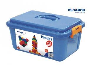 Nagyméretű építőkocka készlet dobozban (Miniland, 32310, 120 db-os építőjáték, 1-5 év)