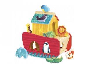 Noé bárkája formaberakó és szerepjáték, fa bébijáték (1-3 év)