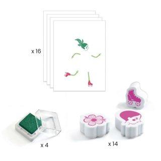 Nyomdakészlet Viráglányok, Djeco kreatív szett - 8741 (5-8 év)